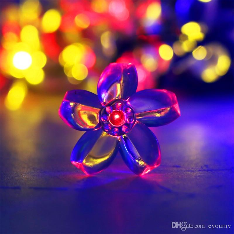 Solar Power Fairy String Lights 6.8M 50 LED Peach Blossom Decorative Garden Lawn Patio Christmas Trees Wedding Party