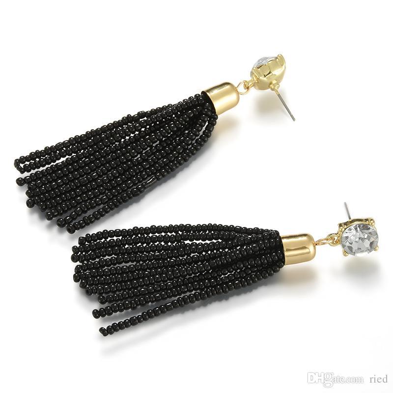 Nouvelle Arrivée Noir Petites Perles De Rocaille Gland Boucles D'oreilles De Luxe Strass Piercing Long Tassle Boucle D'oreille Pour Les Femmes Partie Bijoux