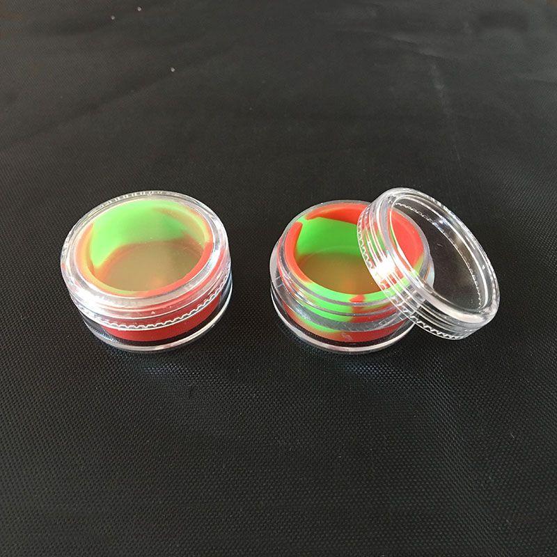 سيليكون الشمع الحاويات 5 ملليلتر جرة بلاستيكية مع بطانة مطاطية للبقع الزيتية الجرار السيليكون dab الشمع الحاويات 1 قطعة