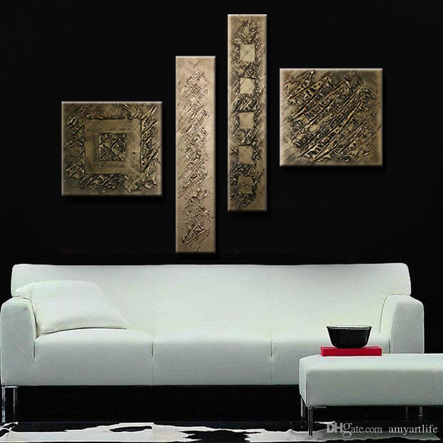 Hand Painted Bronze color modern Oil Painting On Canvas wall Art Home Decoration metallic picture no frame