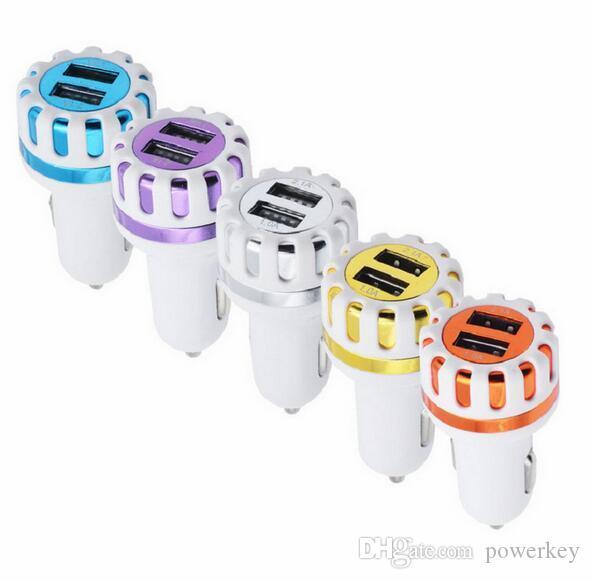 2017 Hohe qiality Dual USB Ports Led Licht Sun Flower Auto-Ladegerät 5V 2.1A 2-Port Mini-Stecker ABS Auto-Ladegerät für Samsung Iphone