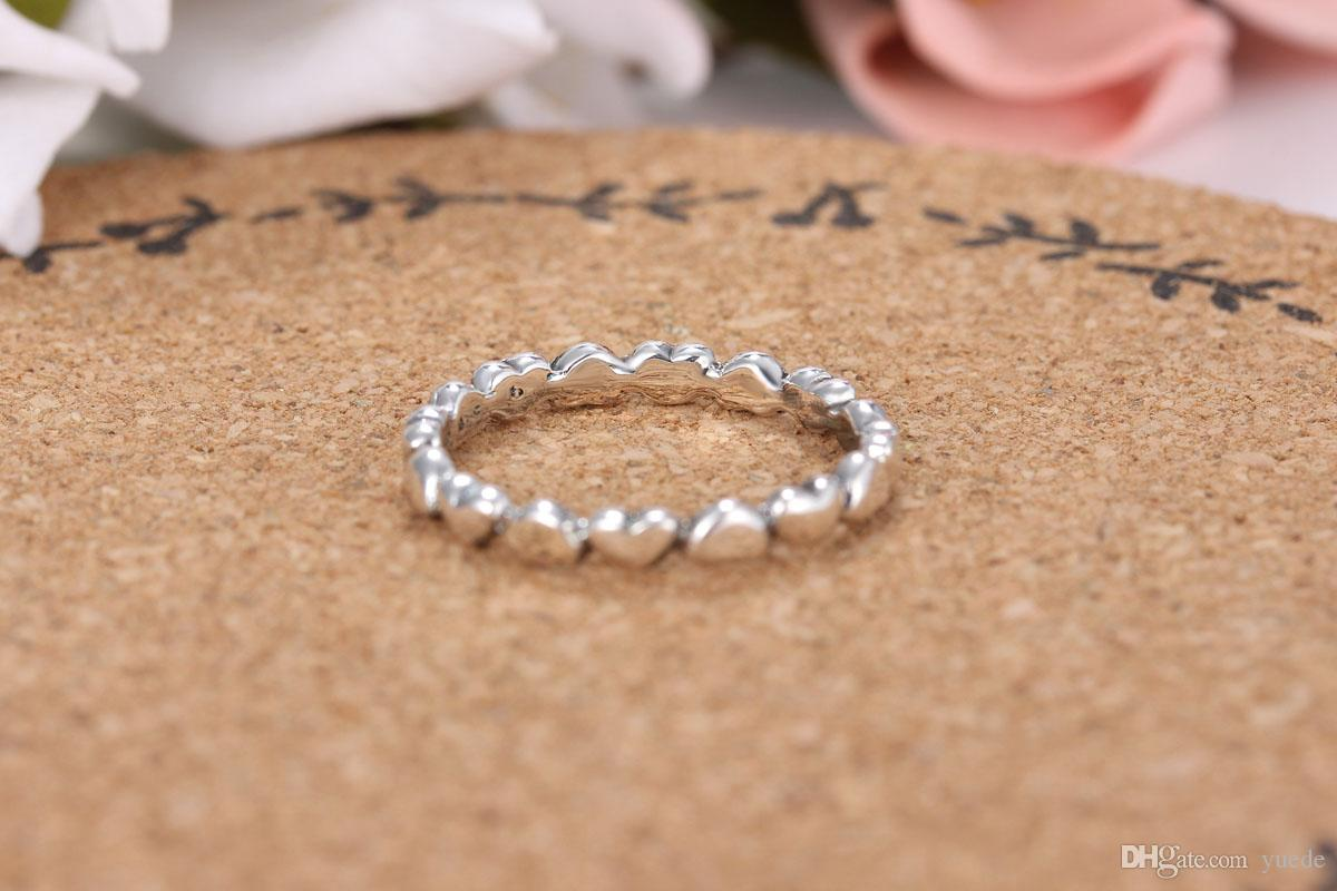 Ein Großhandel 925 Silber Herz zu Herz Ring Fit Pandora Zirkonia Jahrestag Schmuck für Frauen Weihnachtsgeschenk