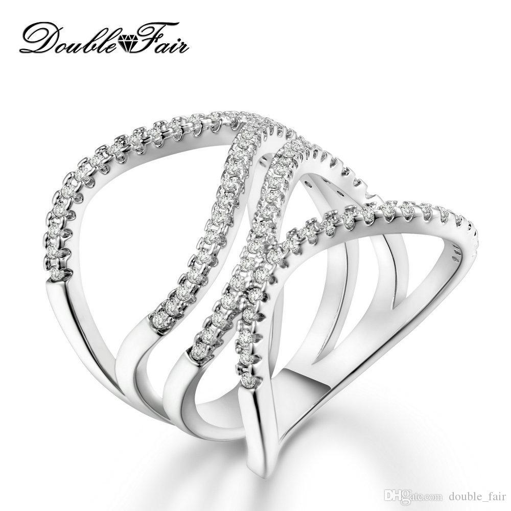 rilasciare informazioni su online in vendita comprando ora Anelli placcati oro bianco di alta qualità CZ Diamond Fashion Jewelry Per  le donne Fidanzamento Gioielli all ingrosso DFR591