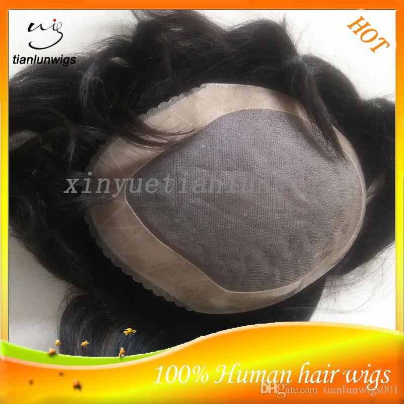 Cabelo Humano virgem Peruca Toupees para homens negros dos homens do cabelo dos homens indianos sistema personalizado ordem frete grátis