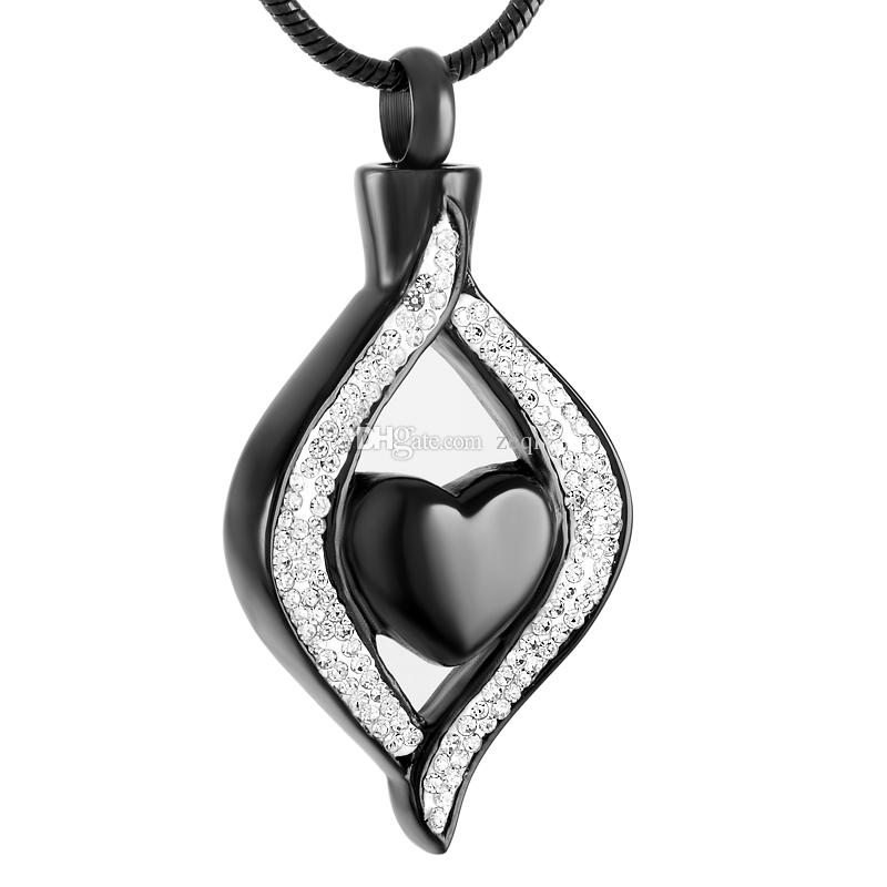 IJD9240 Heart Stainless Steel Cremation Pendant Necklace Memory Ashes Keepsake Urn Necklace Crystal Ashes Stash