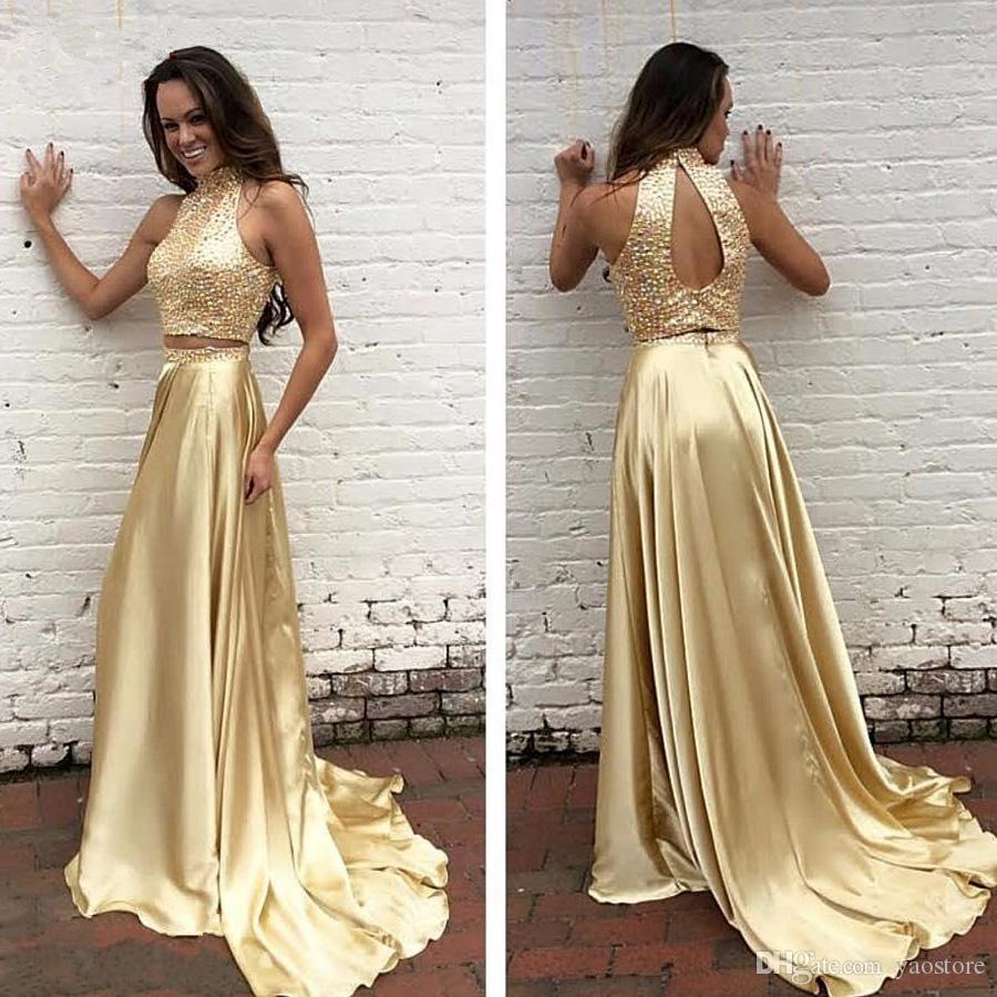 Rose Gold Prom Silvers: 2017 Two Pieces Rose Gold Prom Dresses Sexy Beaded High
