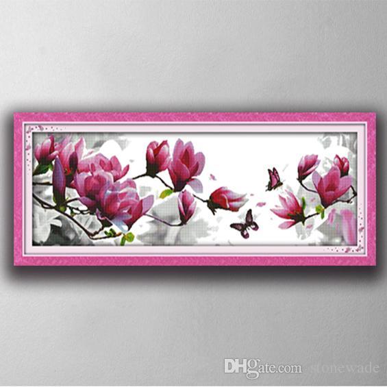 2018 magnolia flower scenery home decor painting handmade cross