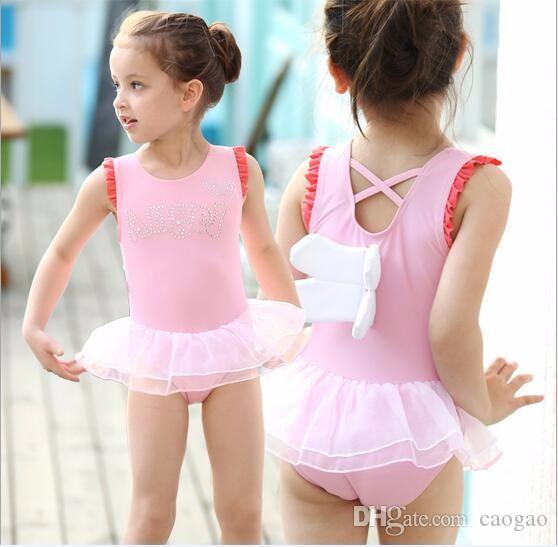 2018 Little Girls Clothing Summer 2017 Brand New Solid One Piece Swimwear Boutique Cartoon Bathing Suits Wholesale From Caogao 593
