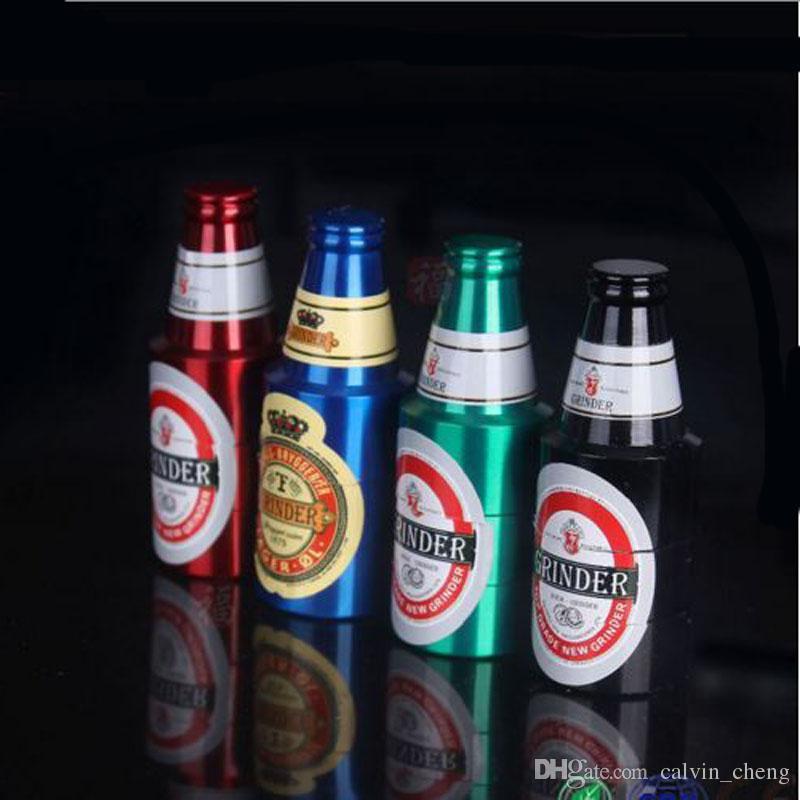 Moedores de erva de metal em forma de cerveja moedores de tabaco em forma de garrafa 3 camada de moedor de erva 2017 new heady metal fumar acessórios DHL / EMS livre