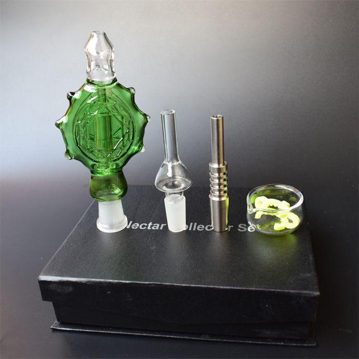 Mais novo Nectar Collector 3.0 Perc pingente com ponta de titânio Tubo de vidro refrigerado a água e à prova de derramamento Plataforma de petróleo Bongos de vidro cachimbo de fumo