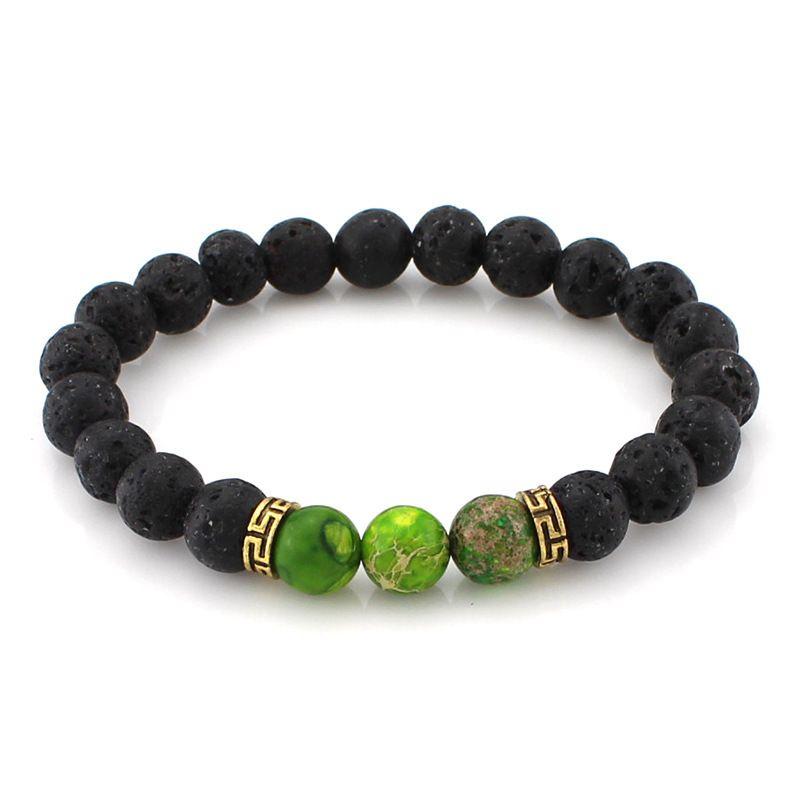 7 Chakra Natural Lava Stone Bracelet for Women Elastic Jewelry Men Essential Oil Diffuser Bracelets Yoga Beads Bangle Kimter-B348S FZ
