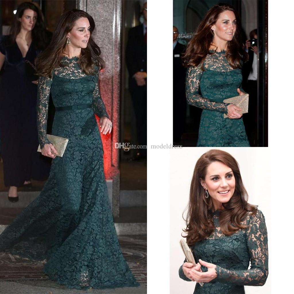 Kate Middleton Abiti da sera in pizzo formale 2018 Maniche lunghe Sheer Neck Fodero Lungo Hunter Verde Prom Party Red Carpet Abiti personalizzati personalizzati