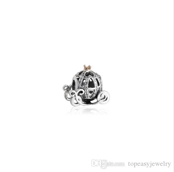 TopeasyJewelry Gold Plated Cinderella Pumpkin car Beads Fit Charms Bracelet 925 Sterling Silver Clear CZ Disny Beads For Jewelry Making