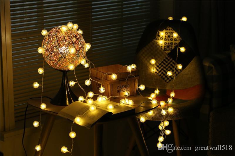 LED chaîne lumière chaude blanc lumière de fée lumière de vacances pour la fête de noël décoration de mariage AC exploité Puffer Ball QX008