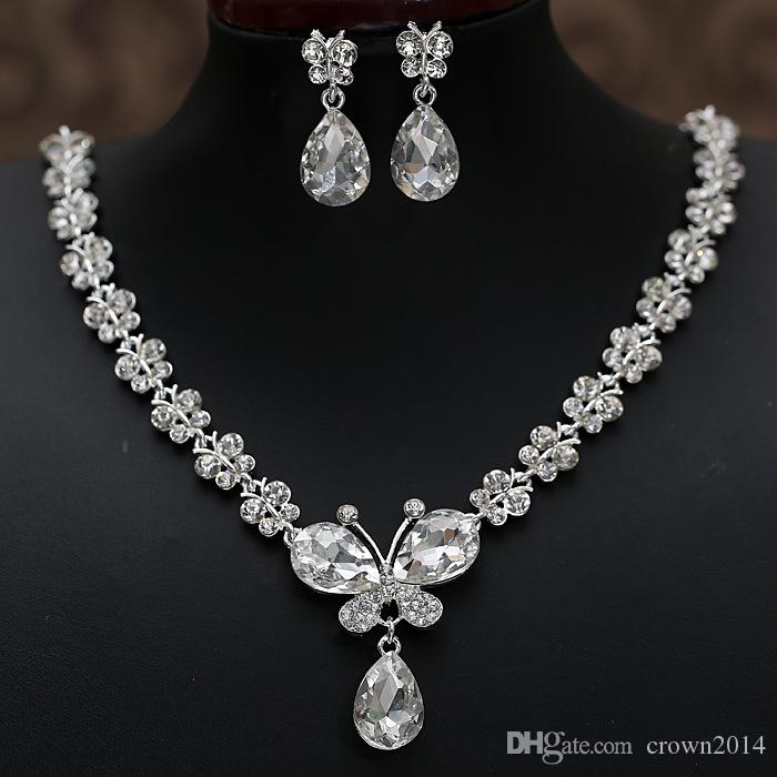 2021 Rhinestone Crystal Drop Necklace Sets Earring Plated Bridal Jewelry Set White Wedding Earrings Cheap Wedding Accessories
