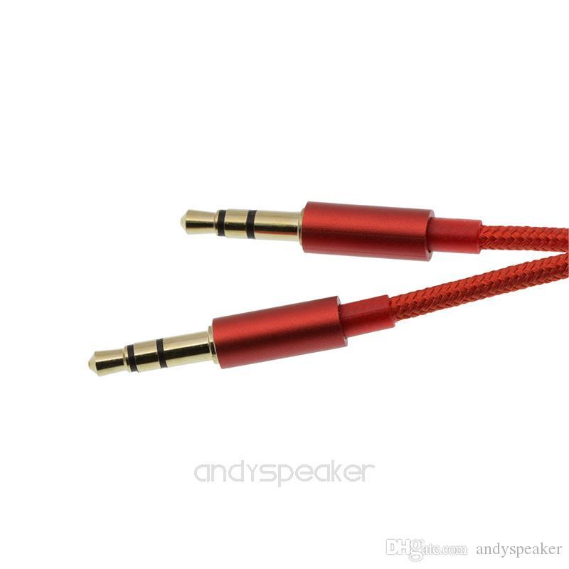 Aux кабель оплетки вспомогательный кабель 3.5 мм между мужчинами аудио 1 м стерео автомобильный удлинитель для цифрового устройства 100 шт. / УП