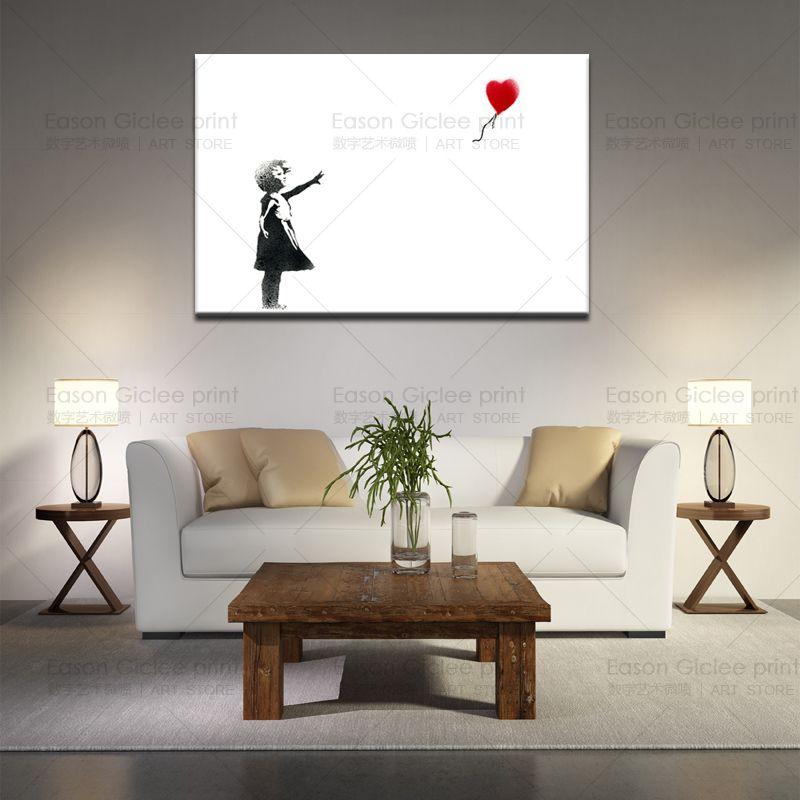 Chica Banksy de alta calidad con impresión de lienzo en globo Pintada urbana Arte Decoración de pared Salón Pared Fotos Lona Impresiones Fotos