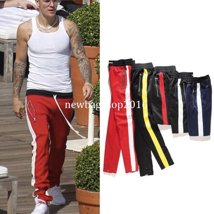 2019 New Fashion Mens Famous Brand Side Strip Retro Pants Fear Of