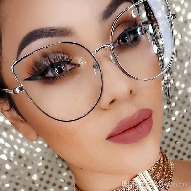 Discount Oversize Women Metal Cat Eye Glasses Frame Brand Designer ...