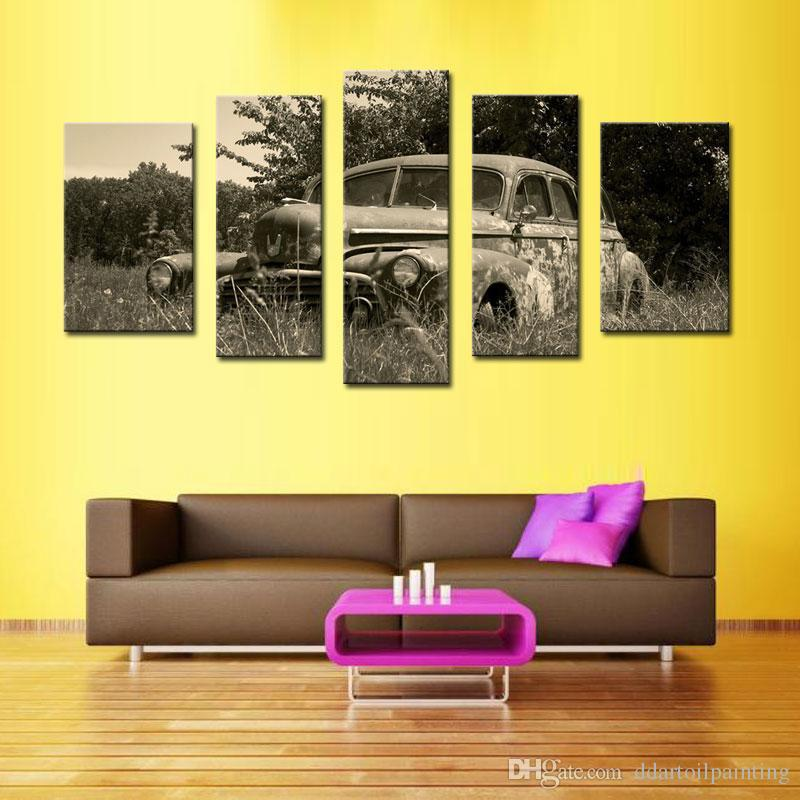 wholesale Classical 5 panels old car on grass Canvas Print Painting for living room Decor Wall Art Picture hot sale free shipping unframed