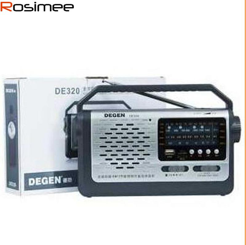 Wholesale-Quality Degen DE320 2-in-1 Portable FM Shortwave Full-Band Radio  & MP3 Player USB Flash Disk Support TF Card Multiband Radio