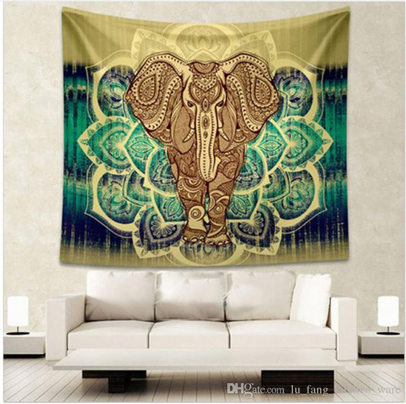 2017 Indian Mandala Tapestry Elephant Colored Printed Hanging Wall ...