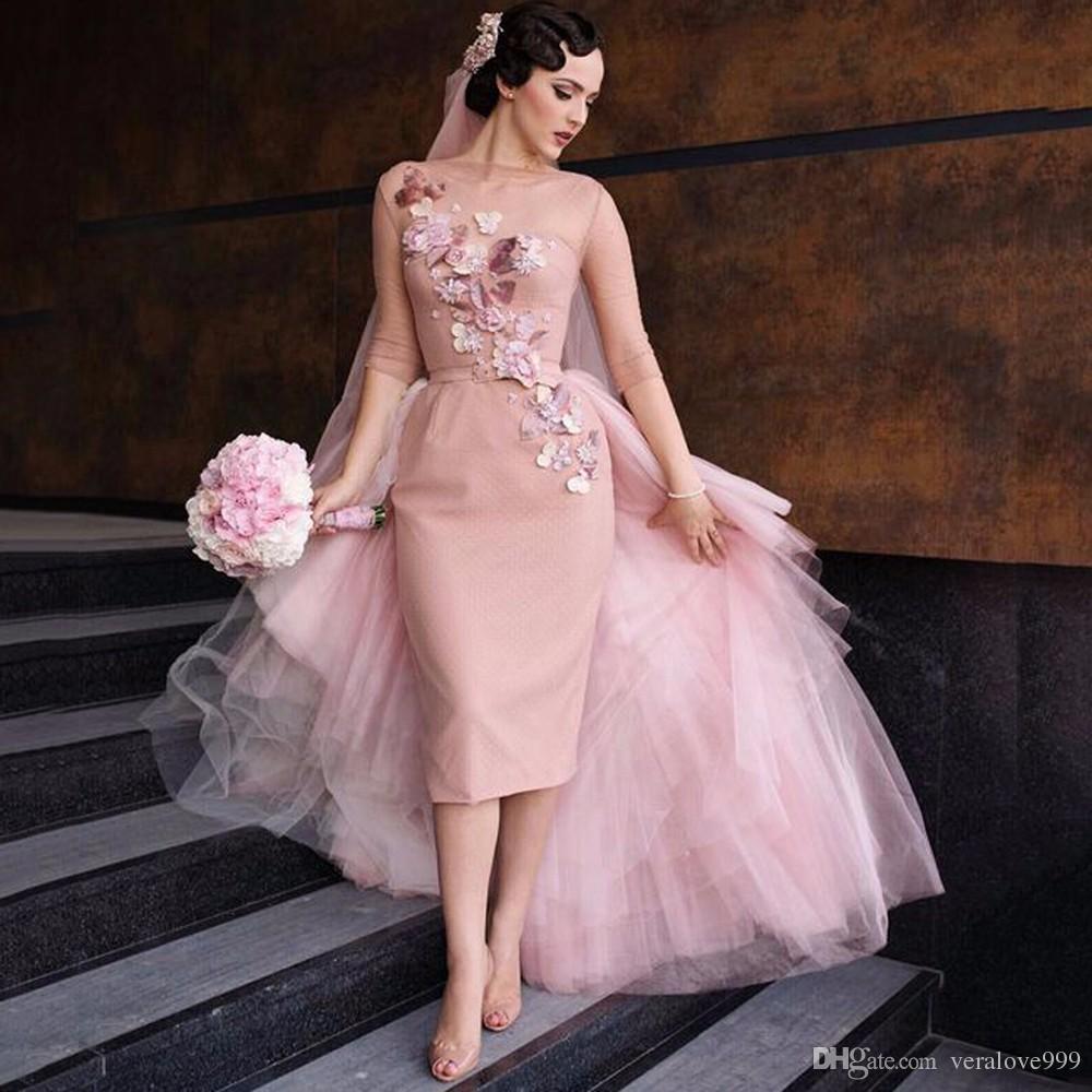 Special Romantic Knee Length Blush Pink Wedding Dresses 2017 Chic Short Bridal Dress Train Flower Appliques Gown Tea: Pink Knee Length Wedding Dresses At Reisefeber.org