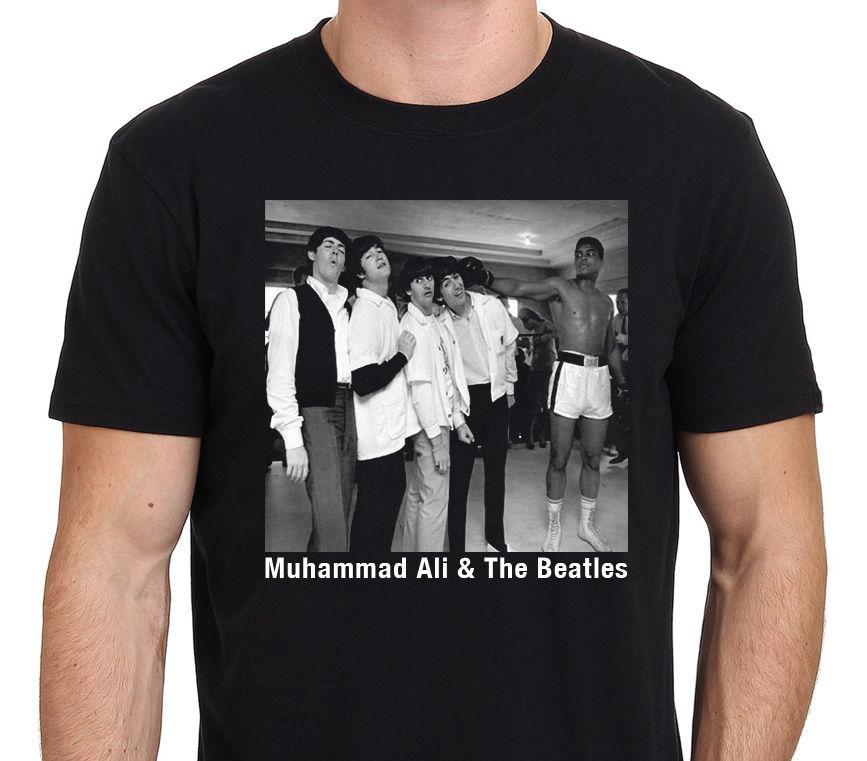 a6bfe4d5b6bf4 Muhammad Ali Meet With The Beatles T SHIRT Men'S Black Size: S XXXL ...