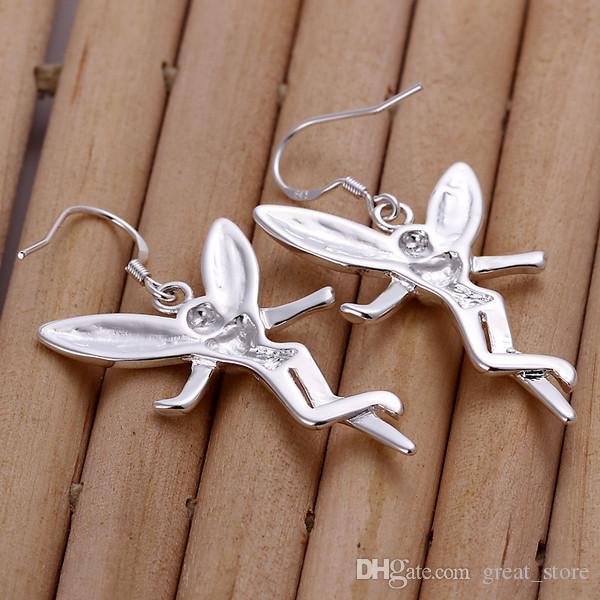свадьба Висячие ангел серебро пластины серьги GE193, женские 925 серебряные качают канделябр серьги