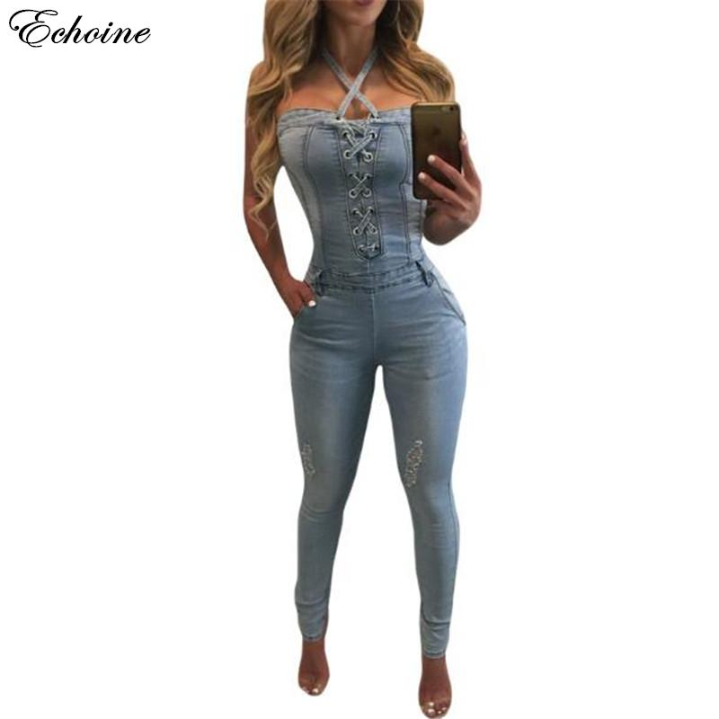 042172d87d89 2019 Wholesale ECHOINE Women Denim Jumpsuits Sexy Ladies Halter Neck Off  Shoulder Backless Skinny Rompers Perfect For Ladies Night Out Wear From  Hiem