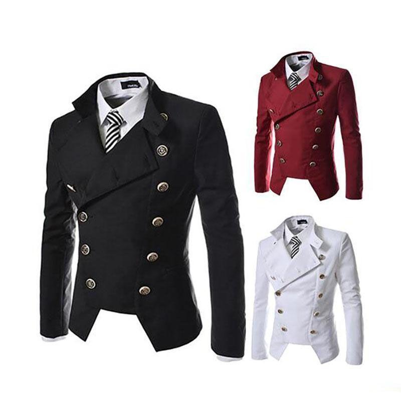 Men's Blazers coat British style double-breasted Slim black male blazer jacket fashion casual lapel neck men blazer suit free ship