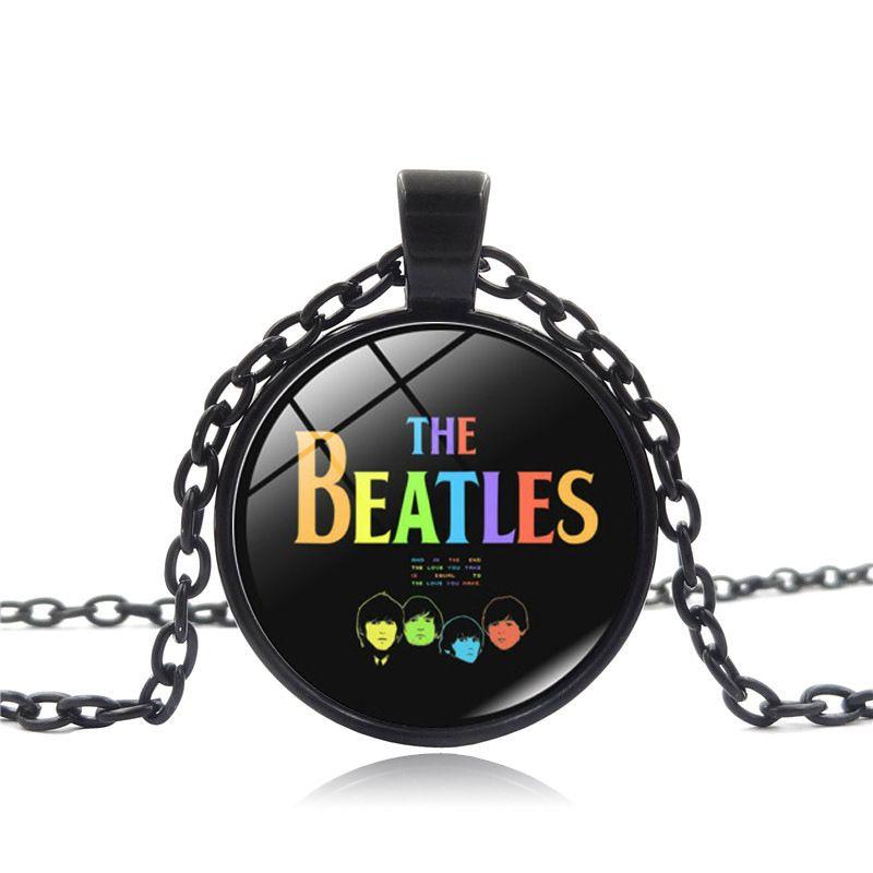 New Fashion The Beatles Necklace Rock Band Pendant Men s Accessory Glass  Cabochon Necklace Pendant