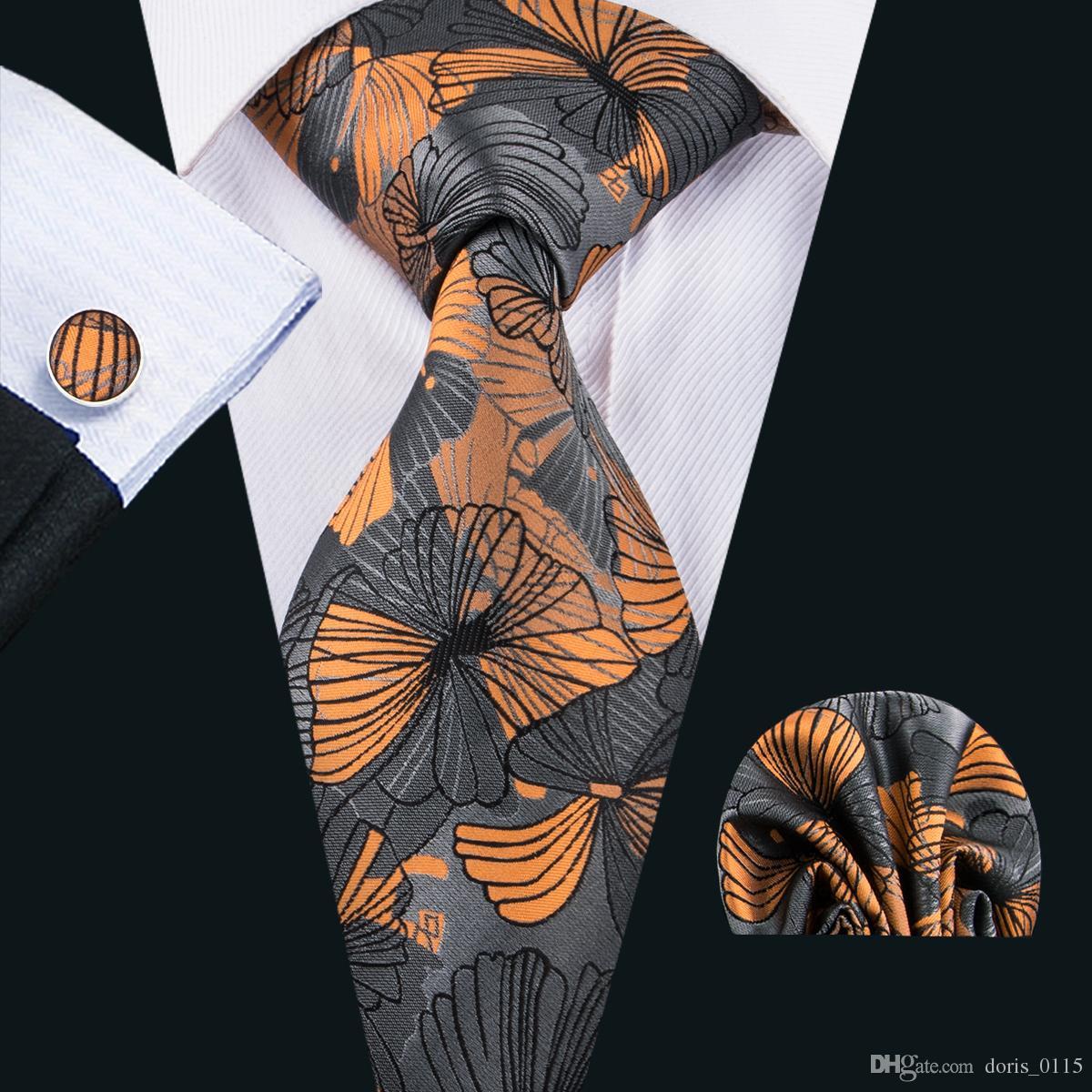 8d8b42ffc8cb Wholesale Silk Ties Men Neecktie Gold Black Floral Necktie Cufflinks ...