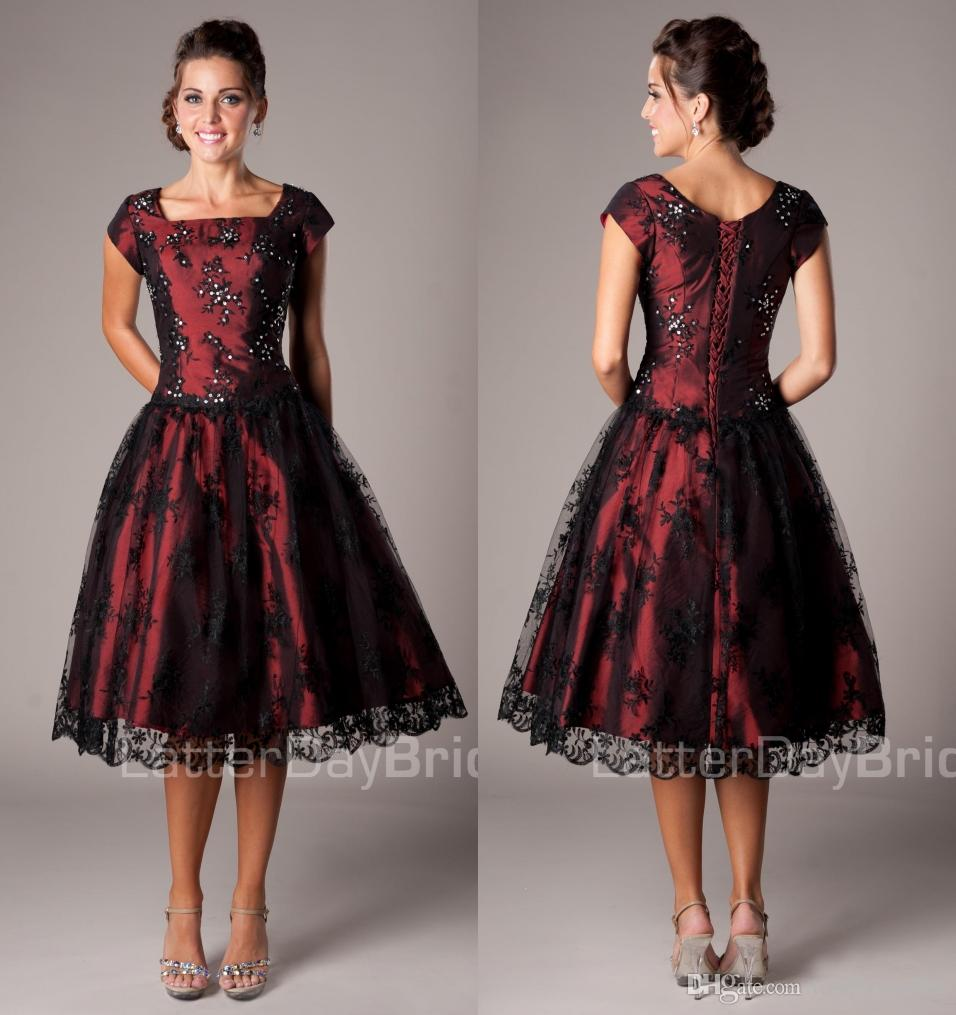 Black And Red Vintage Lace Short Modest Cocktail Dresses With Cap ...