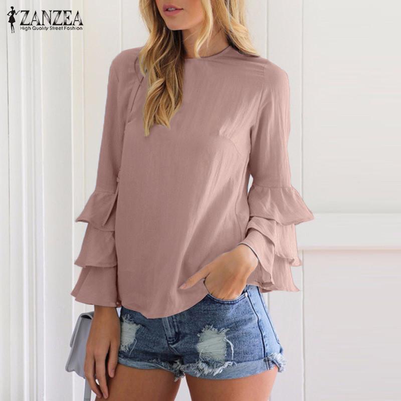 5fee8f13750b ZANZEA Camisas Blusas de las mujeres 2017 Otoño Elegante Señoras O-cuello  del volante de manga larga Blusas sólidas Casual Tops sueltos