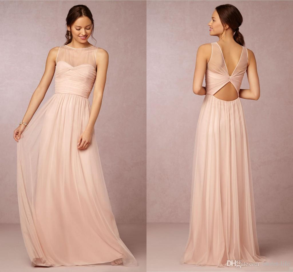 Bridesmaid dresses 2017 hot cheap crew neck tulle blush pink sheer bridesmaid dresses 2017 hot cheap crew neck tulle blush pink sheer illusion hollow back long for wedding party dress prom gowns under 100 grey bridesmaids ombrellifo Gallery