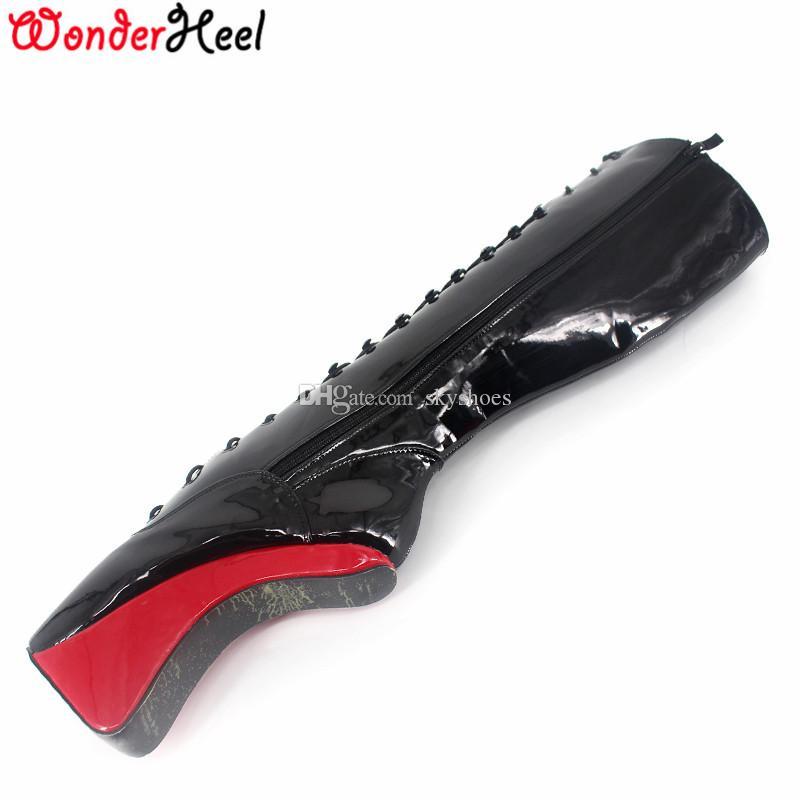 Wonderheel ساخنة جديدة المتطرفة عالية الكعب 18 سنتيمتر كعب أسافين الكرة الركبة أحذية مثير الوثن عالية الكعب أحذية الباليه تظهر الدانتيل يصل التمهيد