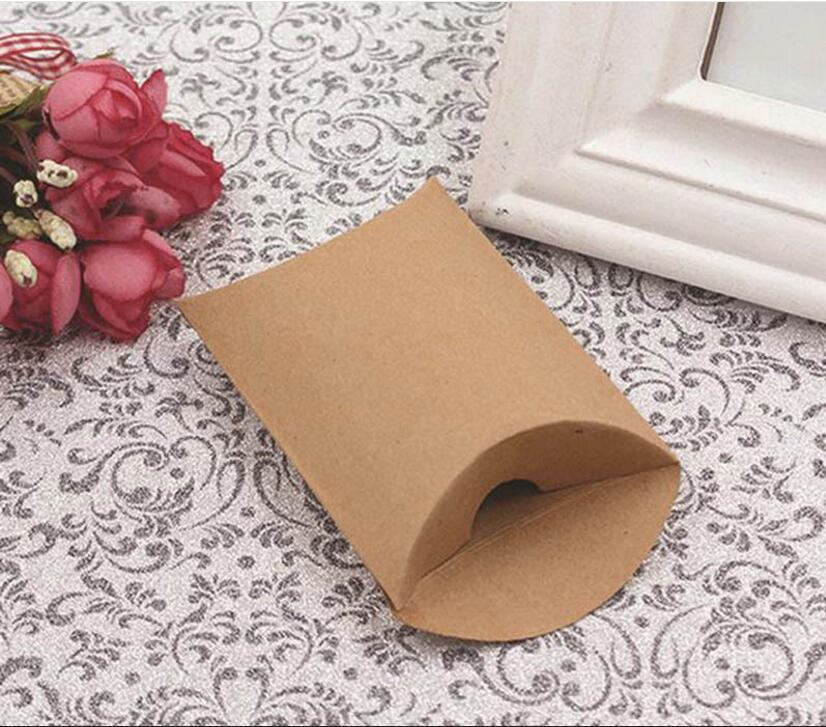 White and Kraft Paper Pillow Favor Gift Box Wedding Party Favour Gift Candy Boxes Paper Gift Box Bags not including Ribbons