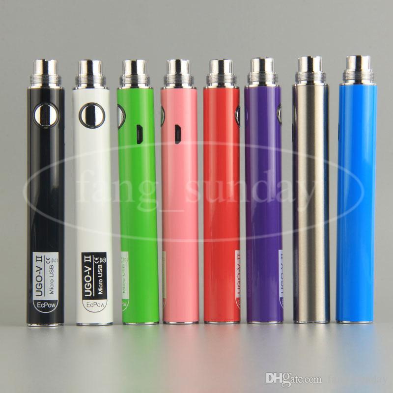 Ecpow UGO V II 650 900 mAh Micro USB eGo T Vape Pen Carregador de Bateria para 510 Fio Evod Metal Espessante Cartucho De Óleo