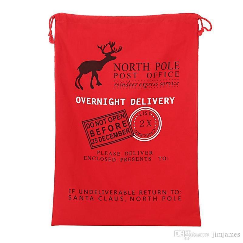 50 adet Ile 2017 Noel Büyük Tuval Monogrammable Noel Baba İpli Çanta Reindeers, Monogramable Yılbaşı Hediyeleri Çuval Çanta