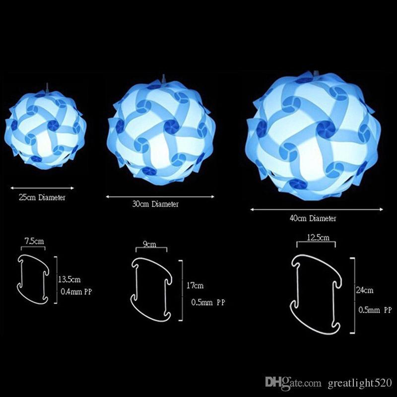 DIY enigma infinidade luz luzes QI Puzzle Light Pieces Jigsaw Modern bola pingente Novel enigma pingentes abajur colorido # 30