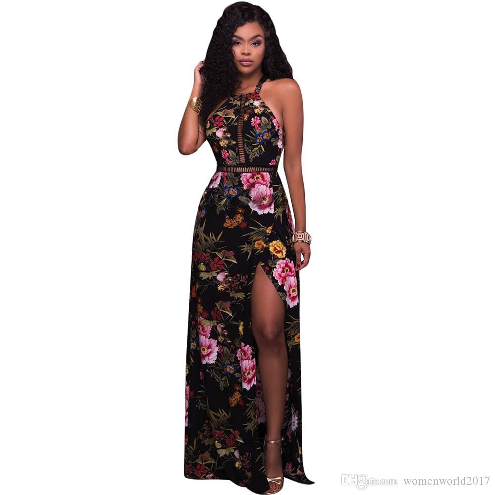 42b7ac7e1d8 Elegant Floral Print Split Maxi Dress Off Shoulder Backless Long Women  Party Dresses Halter Hollow Out Summer Beach Boho Dress Floral Dress White  Prom ...