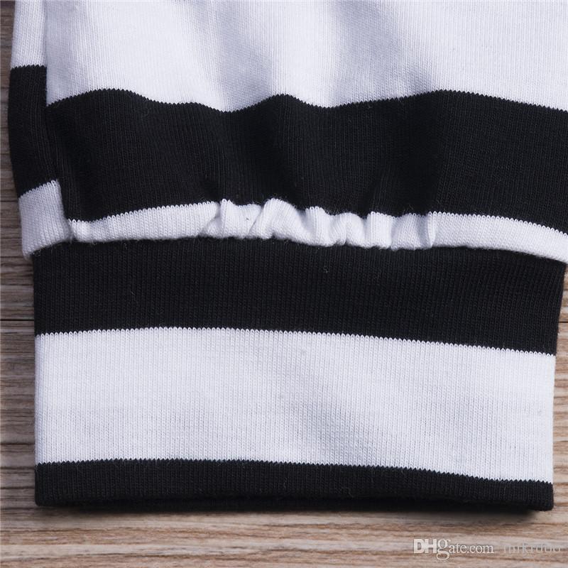 Mikrdoo Automne Neuf Neuf Baby Vêtements Nouveau sur l'équipage à manches longues Body Tops Pantalon rayé Legging Bandeau de chapeau Vêtements de tenue