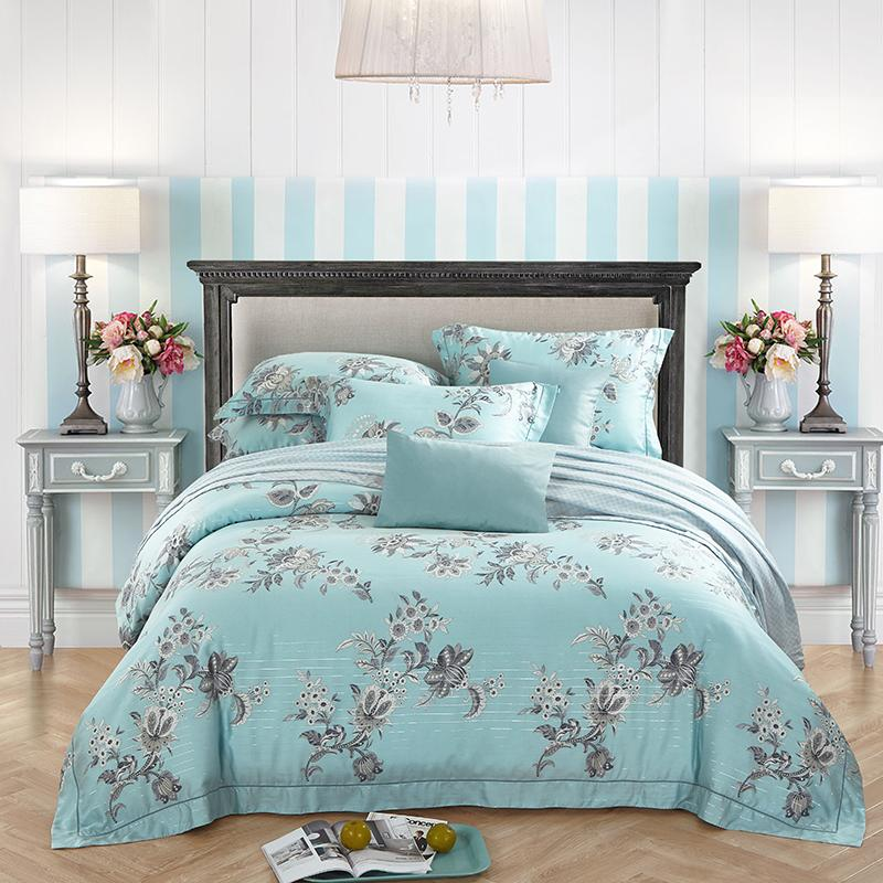 Fabric For Bedding 60 yarn tencel fabric bed sheet bed linen four pieces bedding set
