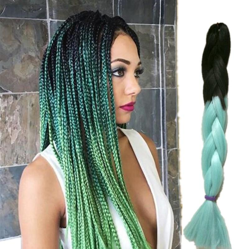 Ombre Kanekalon Jumbo Braiding Hair Colors Gray Purple