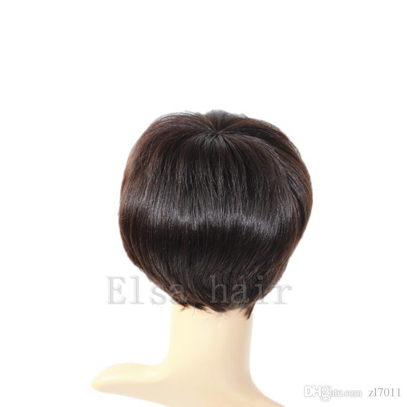 İnsan Doğal Brezilyalı İnsan Saç Peruk Siyah Kadınlar Için Ucuz Kısa Tutkalsız Peruk Ünlü Gerçek İnsan Saç Kısa Kesim Peruk