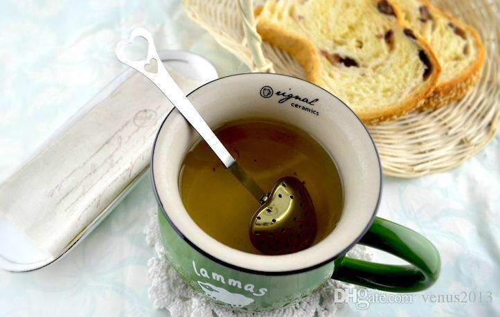 """Tea Time"" Heart Shaped tea infuser Mesh Ball Reusable Stainless Strainer Herbal Locking Tea Infuser Spoon Filter"