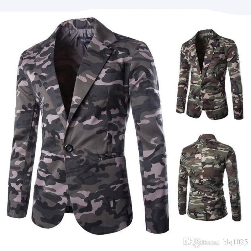 2019 New Mens Blazer Slim Fit Suit Jacket Fashion Men Camouflage