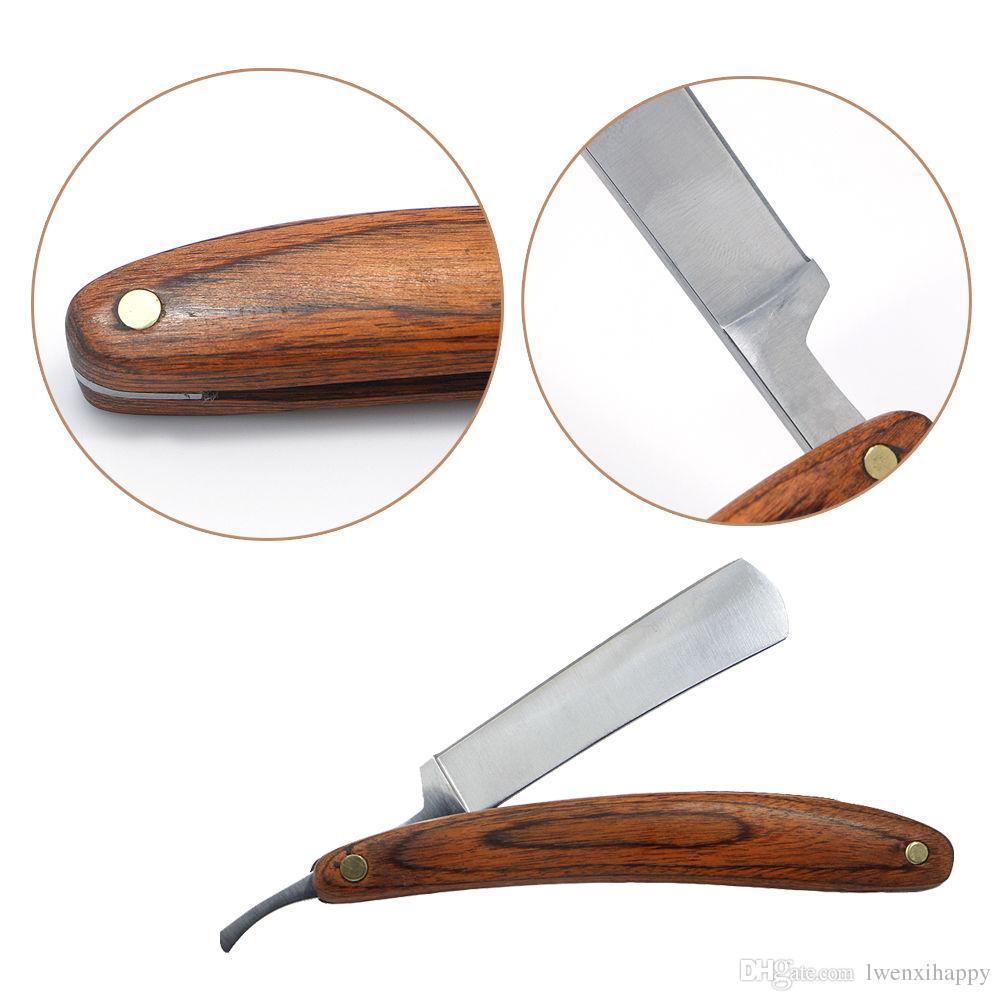 Straight Edge Razor Steel Folding Shaving Wood Handle Knife Barber Beard NEW