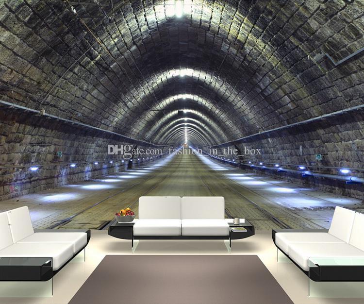 Großhandel 3d Überspannt Raum Tapete Tunnel Fototapete Benutzerdefinierte  3d Wandbild Industriellen Stil Schlafzimmer Wohnzimmer Restaurant Bar Art  Room ...
